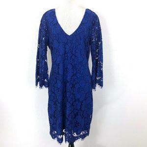 Belle Badgley Mischka Womens Blue Lace 3/4 Sleeve